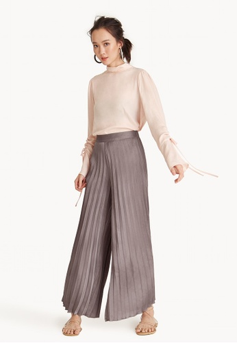 Pomelo brown Pleated Wide Leg Satin Pants - Dusty Pink D61C1AA31FC918GS_1