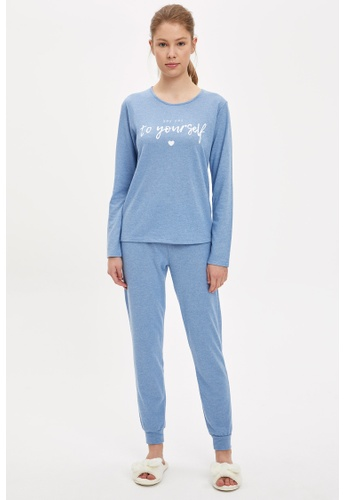DeFacto blue Woman 2-pieces Homewear Top & Bottom Set 5893EAA2FFC151GS_1