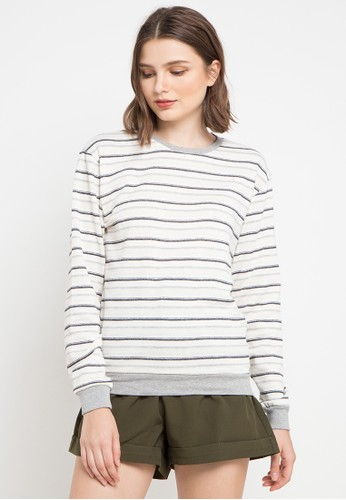 MEIJI-JOY multi and grey Sweater Stripe Basic 957ACAADB85071GS_1