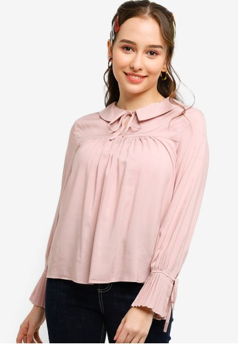 Lubna pink Pleated Blouse Made From TENCEL 3CBA6AA1F757CAGS_1