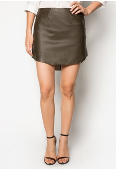 Faux Leather Curved Hem Skirt