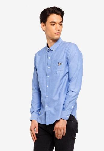 Brave Soul 藍色 小鳥刺繡長袖襯衫 28BD1AA1D6B796GS_1