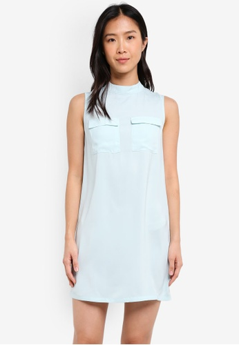 ZALORA green High Neck Dress With Utility Pocket F0418AA8038F0BGS_1