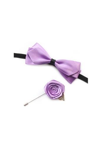 Kings Collection 紫色 淺紫色領結配胸花 (KCBT2019) 20904AC3771037GS_1