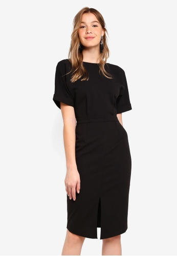 ZALORA BASICS black Basic Drop Shoulder Dress 03ED9AAB03C970GS_1