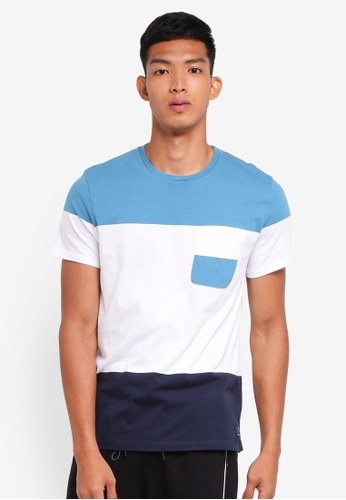 Jack Wills blue Chackmore Block Stripe T-Shirt CB05EAA77F6968GS_1