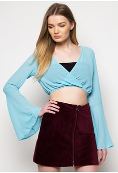 Serenity Bell Sleeve Cropped Top