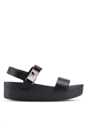 VINCCI black Strappy Wedges 80014SHE55257AGS_1