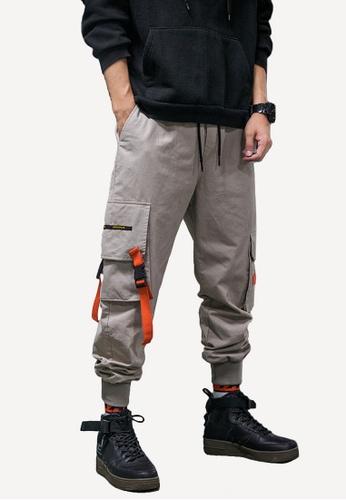 hk-ehunter 米褐色 男裝多口袋工裝褲子 F4E82AAC49D970GS_1