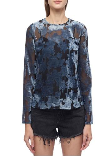 CK CALVIN KLEIN blue Linear Floral Burn Out Ruffled Blouse 74650AA308CBB9GS_1