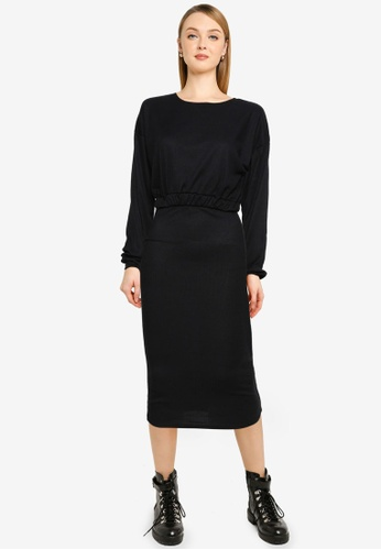 MISSGUIDED black Coord Rib Crop Top Midaxi Skirt Set 009C6AA8BB1C76GS_1