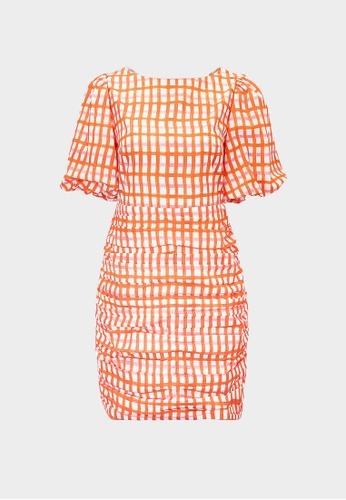 Pomelo orange Gingham Puff Sleeve Mini Dress - Orange 41B01AA8F0F286GS_1