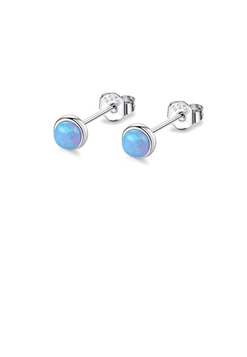 Glamorousky blue 925 Sterling Silver Simple Fashion Geometric Round Green Opal Stud Earrings 48A81AC76234CEGS_1