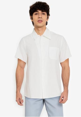 ZALORA BASICS white Unfinished Hem Shirt 7C687AA40CDEBAGS_1