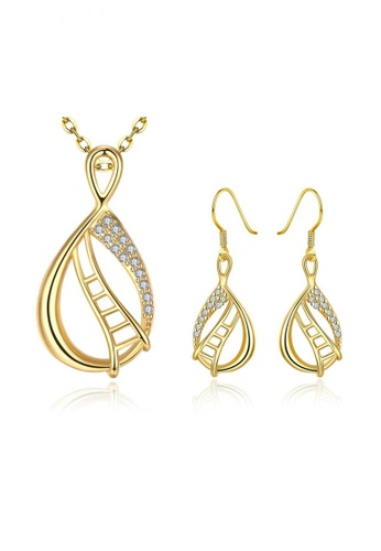 Treasure by B & D gold S012-A Water Droplets with Stone and Ladder Design Necklace and Earrings Jewellery Set TR022AC86VMJPH_1