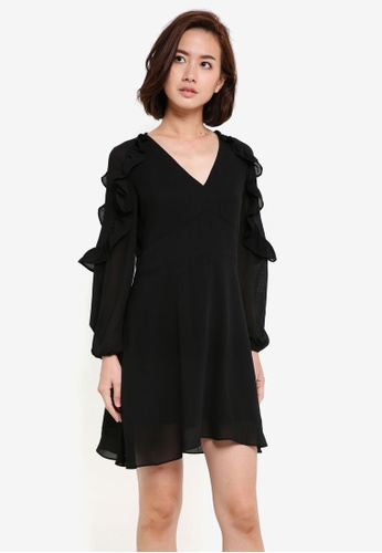 ZALORA black Frill Shoulder Dress E789CAA500FF72GS_1