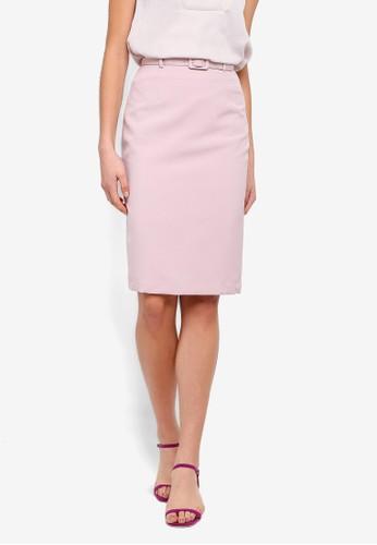 FORCAST pink Rowan Belted Skirt 36566AAEA87181GS_1