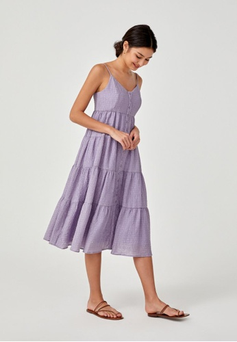 Love, Bonito purple Bellanne Textured Tier Midi Dress B7521AA70A685CGS_1