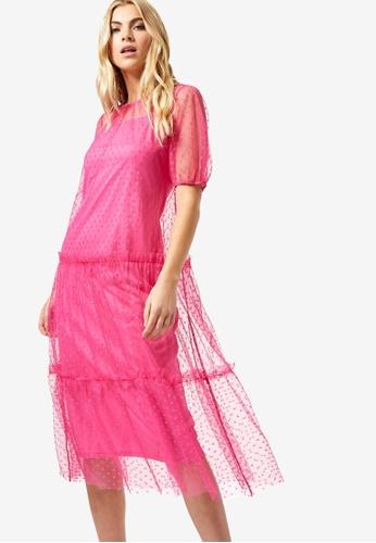 Dorothy Perkins pink Pink Spotted Mesh Smock Midi Dress 1A291AA332B12FGS_1