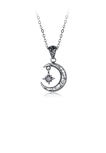 Glamorousky white 925 Sterling Silver Retro Elegant Fashion Star and Moon Pendant and Necklace with Cubic Zircon F80F2ACD083D06GS_1