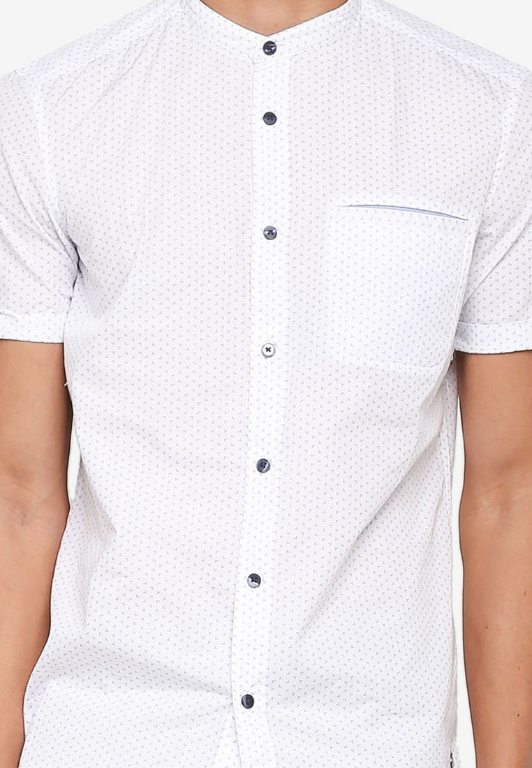 Print Over All ESPRIT Sleeve Shirt Short White 5Bwwqvax