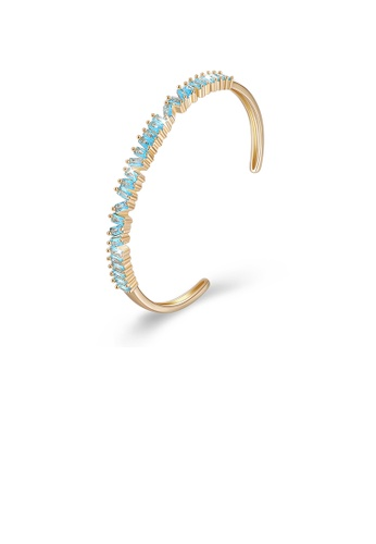 Glamorousky blue Fashion Plated Champagne Gold Open Bangle with Blue Cubic Zircon D7356AC43E46C2GS_1