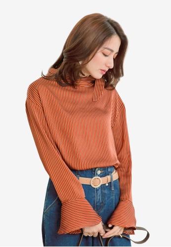 YOCO orange Striped Blouse with Tie Detail E7AD3AAE9DFB24GS_1