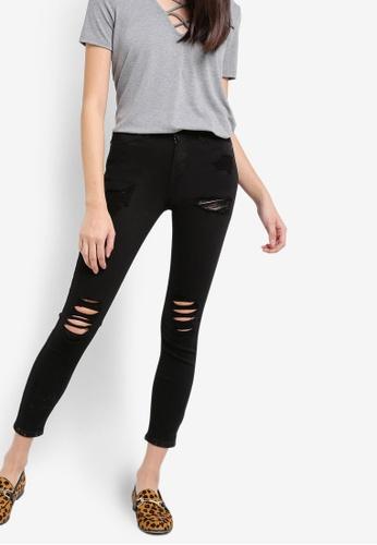 TOPSHOP black Petite Super Rip Jamie Jeans TO099AA63QYAPH_1