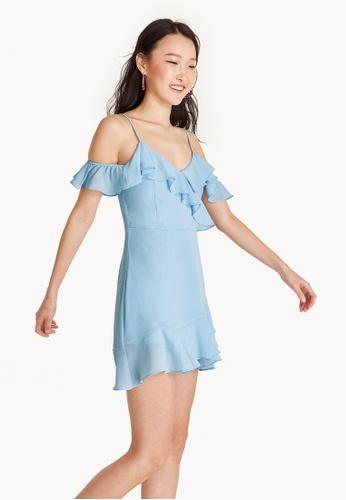 Pomelo blue Mini Textured Ruffle Cold Shoulder Dress - Blue D86DEAAE990EFFGS_1