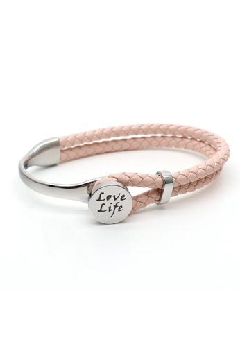 TIAS pink and silver Tias Love Life Silver Cream Leather Bracelet F0125AC3E9E781GS_1