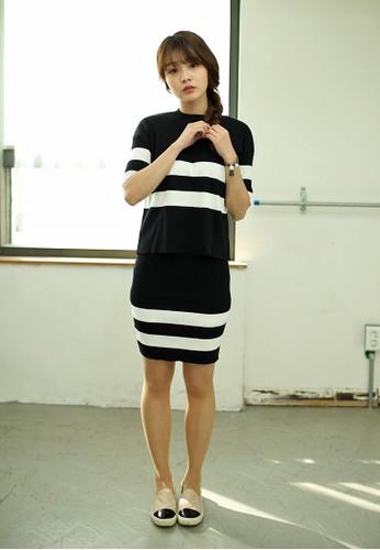 條紋針織上衣短esprit hk store裙套裝, 服飾, 上衣