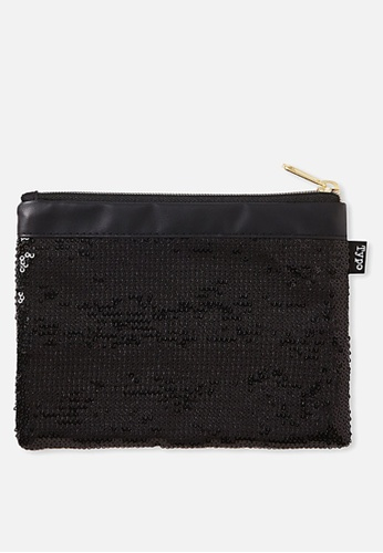 Typo black Sequin Band Pencil Case 36A50ACCB7A90AGS_1