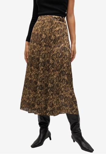 Mango brown Snake Print Skirt 98F3FAAE4C4328GS_1