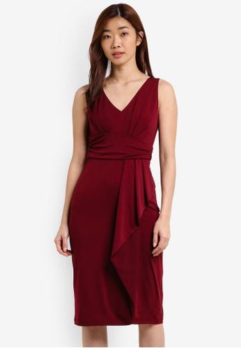 ZALORA red Knitted Drape Dress E0CF2AAD2B900CGS_1