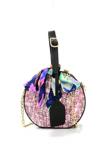 Shapes and Curves purple Round Rattan Straw Basket Beach Sling Bag 901E1AC2A97E5DGS_1