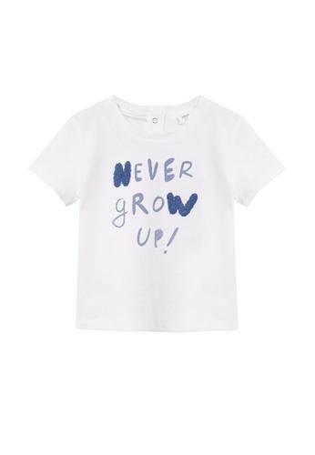 MANGO BABY white Embossed Organic Cotton T-Shirt 99818KAA002E9CGS_1