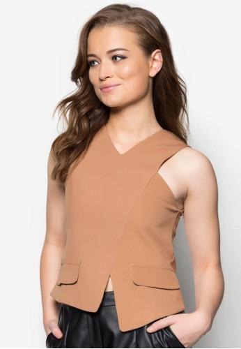 Alexa不對稱下zalora 折扣碼擺無袖上衣, 服飾, 服飾