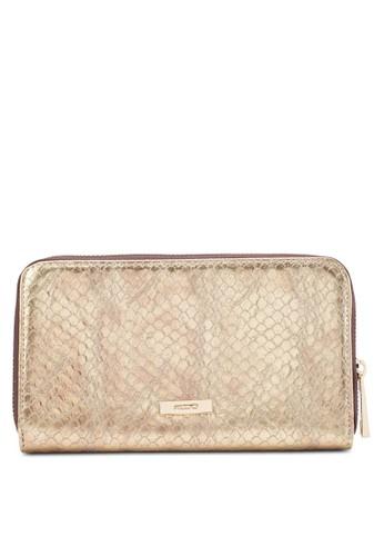 Gesprit專櫃riffitt 暗紋拉鍊長夾, 包, 皮夾及零錢包
