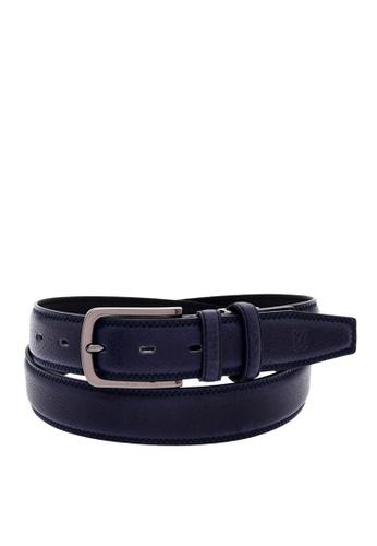 Louis Quatorze navy Men's Leather Belt LO321AC00BRRSG_1