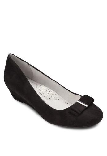 蝴蝶結布zalora taiwan 時尚購物網鞋子料低楔形鞋, 女鞋, 鞋