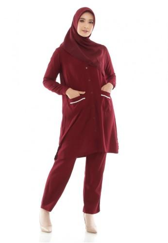 ZAYIDAN red Tunic Set Shakila - Maroon E8136AAF9B3888GS_1