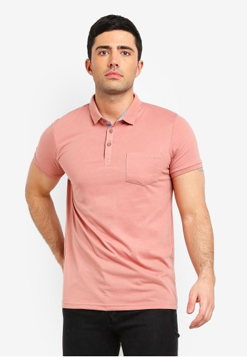 Brave Soul pink Julius Polo T-Shirt 8152AAAC515366GS_1