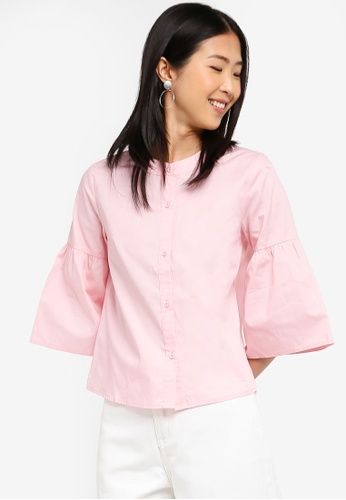 ZALORA BASICS pink Basic Bell Sleeves Shirt 68501AA2557D2DGS_1