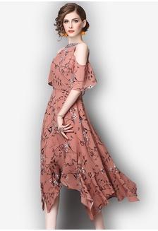 Print Pattern Chiffon Short Sleeve One Piece Dress SU042AA89UNEPH 1  Sunnydaysweety ... 2f33fcf90