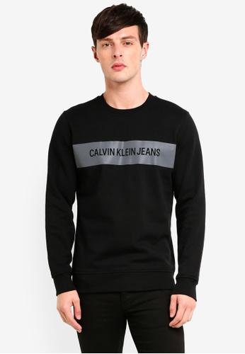 Calvin Klein 黑色 反光印花棉T 4FE13AAC9F61C5GS_1