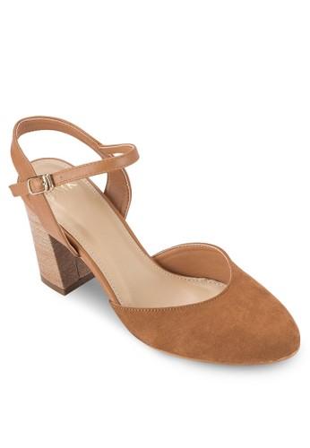 麂皮尖頭粗跟高跟鞋, esprit門市地址女鞋, 鞋