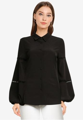 ZALORA WORK black Lace Trim Puff Sleeve Shirt 41065AA01A37C0GS_1