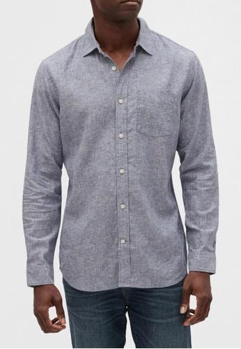 Gap navy Long Sleeve Linen Shirt 8C703AA22A5480GS_1