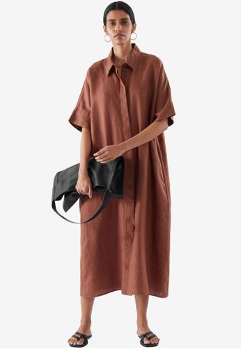 COS brown Linen Shirt Dress 73A84AAB63BC56GS_1