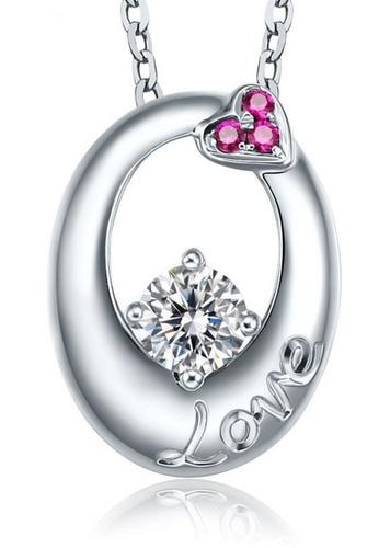 LYCKA silver LFF1234-LYCKA-S925 Silver White Zircon LOVE Letter Necklace -Silver LY529AC0HACJSG_1